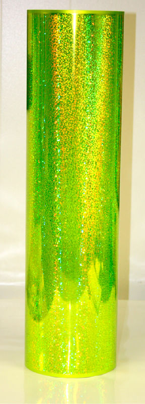 "24"" x 10 foot Holographic Fluorescent Yellow Sequins"